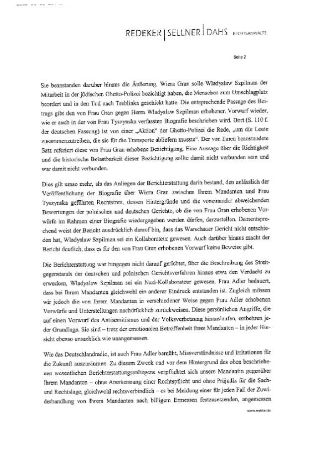 szpilman gegen sabine adler und deutschland radio an den intendanten des deutschlandradio zur. Black Bedroom Furniture Sets. Home Design Ideas
